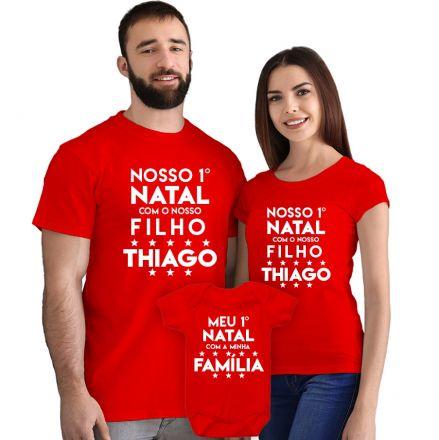 Kit Camisetas e Body Nosso Primeiro Natal CA0900