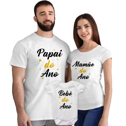 Kit Camisetas e Body Papai Mamãe e Bebê do Ano CA0870