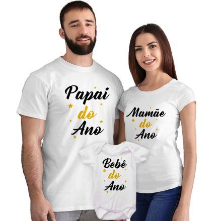 Kit Camisetas e Body Papai Mamãe e Bebê do Ano CA0870