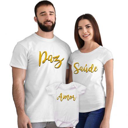 Kit Camisetas e Body Paz Saúde e Amor CA0877