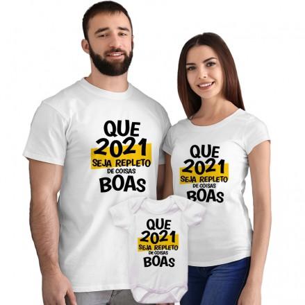 Kit Camisetas e Body Que 2021 Seja Repleto de Coisas Boas CA0867