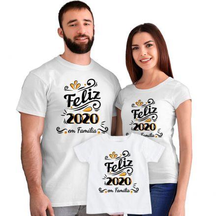 Kit Camisetas Feliz 2020 em Família CA0886
