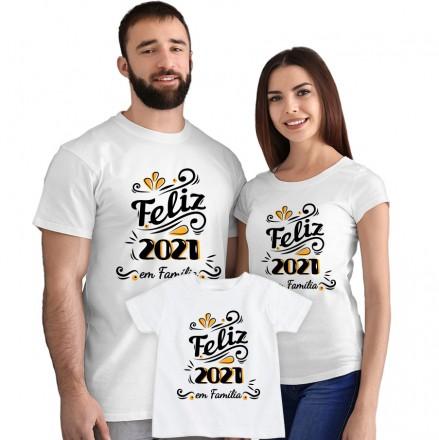 Kit Camisetas Feliz 2021 em Família CA0886