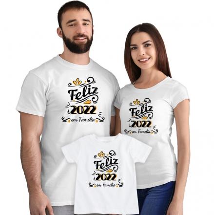 Kit Camisetas Feliz 2022 em Família CA0886