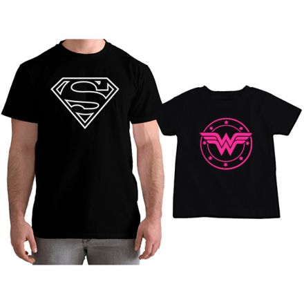 Kit Camisetas Tal Pai Tal Filha Super Homem e Mulher Maravilha CA0777