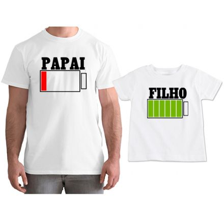 Kit Camisetas Tal Pai Tal Filho Bateria Carregando CA0752