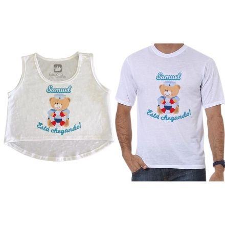 Kit Cropped e Camiseta Gestante Personalizados Ursinho Marinheiro