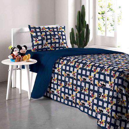 Kit Jogo de Cama Solteiro Mickey Azul Marinho - 3 Peças