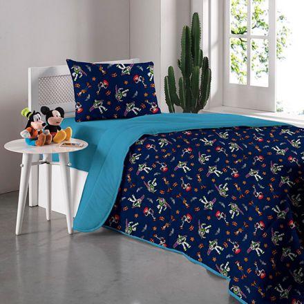 Kit Jogo de Cama Solteiro Azul Toy Story Buzz Lightyear e Jessie - 3 Peças