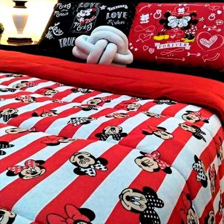 Kit Jogo de Cama Casal Mickey e Minnie Love You Forever Black and Red - 4 Peças