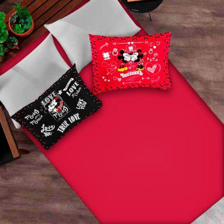 Jogo de Cama Casal Mickey e Minnie True Love You Forever Black and Red - 3 Peças