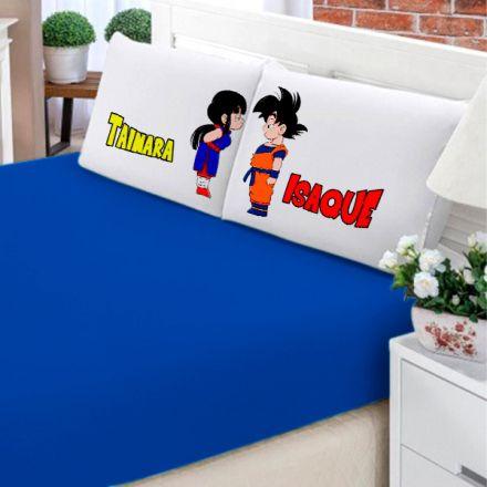 Jogo de Cama Casal Personalizado Dragon Ball Goku e Chichi 3 Peças FR0196