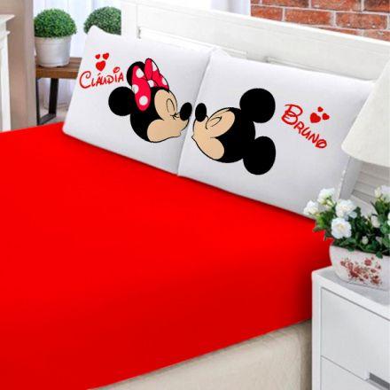 Jogo de Cama Casal Personalizado Mickey e Minnie 3 Peças FR0203