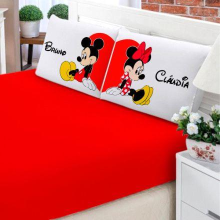Jogo de Cama Casal Personalizado Mickey e Minnie 3 Peças FR0204