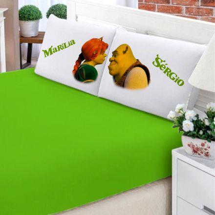 Jogo de Cama Casal Personalizado Shrek e Fiona 3 Peças FR0205