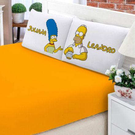Jogo de Cama Casal Personalizado Simpsons Homer e Marge 3 Peças FR0200