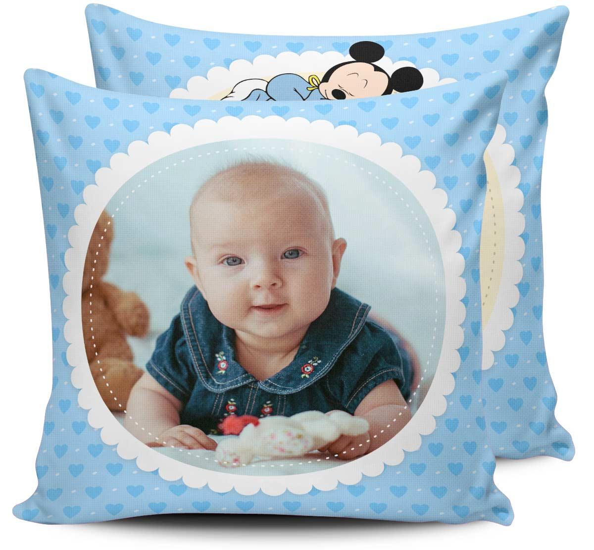 Almofada Dados de Nascimento do Bebê Mickey Baby Personalizado Com Foto