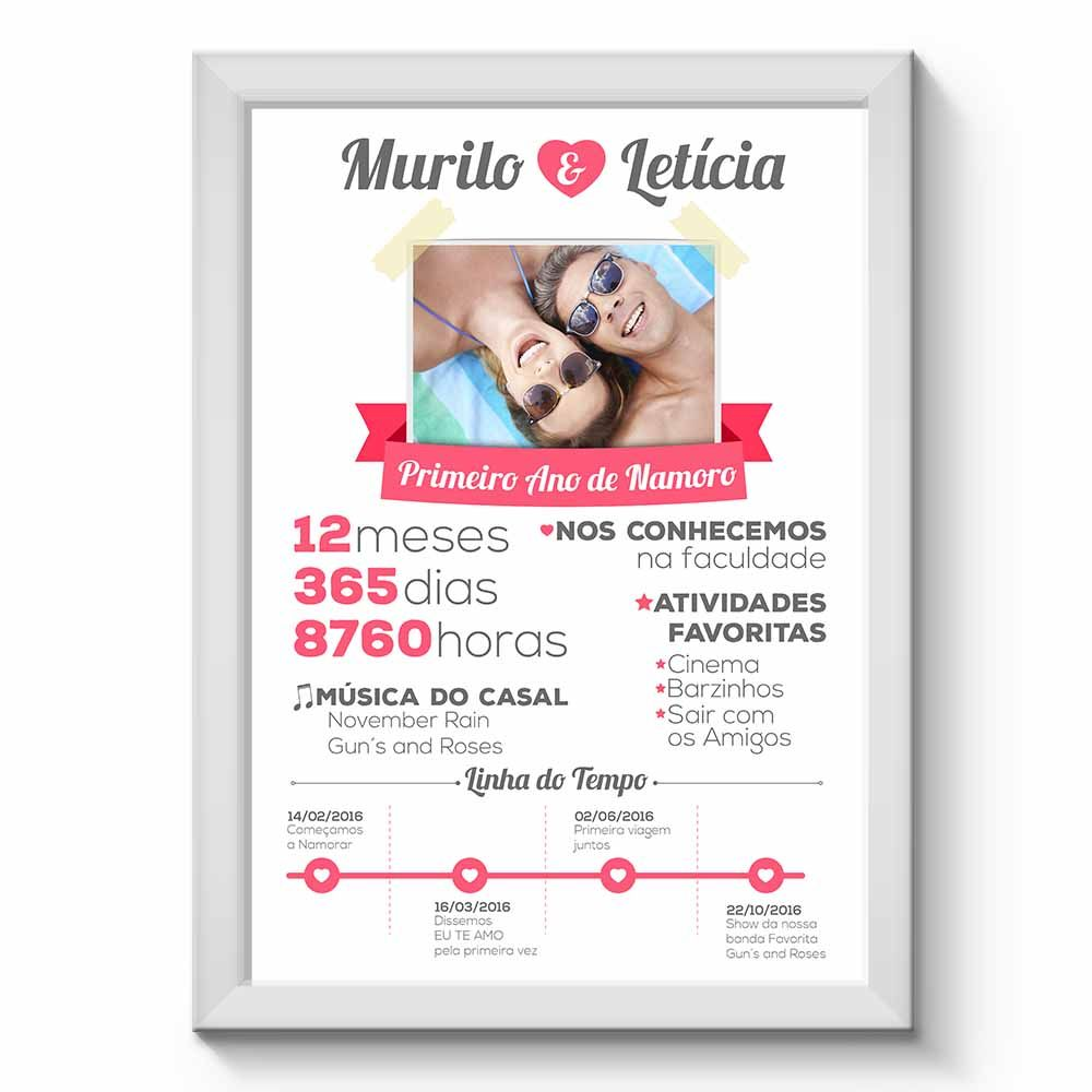 Arte Digital para Quadro Personalizado com Dados do Casal Namorados