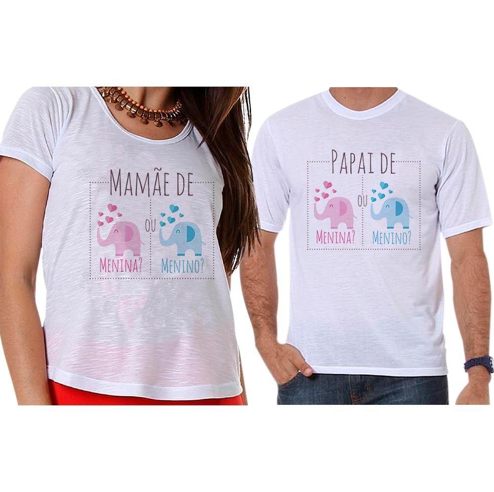 Bata e Camiseta Chá Revelação Menino ou Menina Elefante Corações