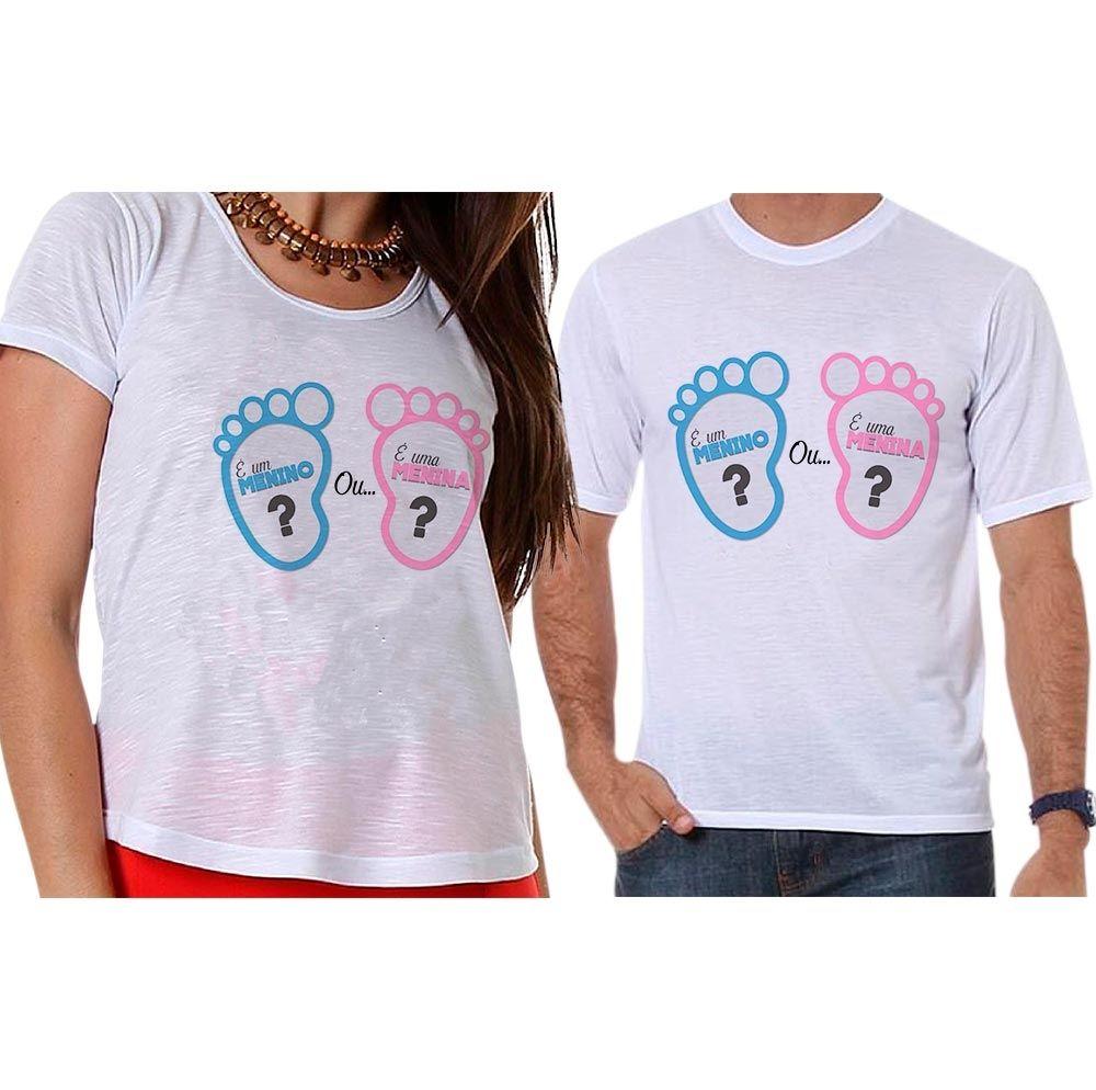 Bata e Camiseta Chá Revelação Menino ou Menina Pézinho de Bebê
