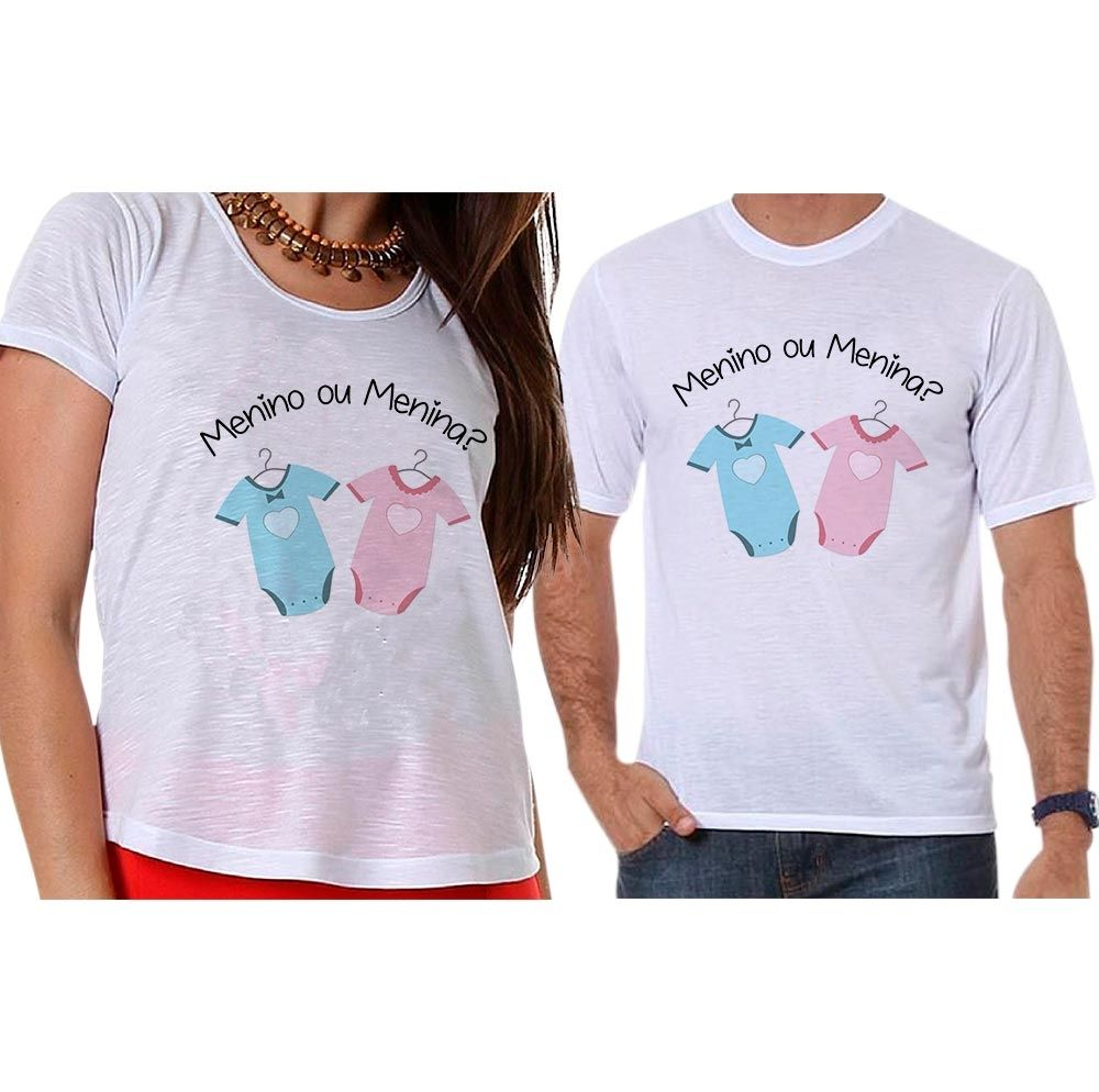 Bata e Camiseta Chá Revelação Menino ou Menina Roupa de Bebê