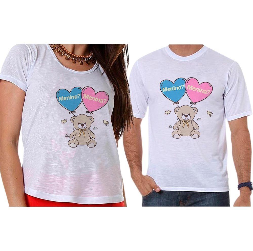 Bata e Camiseta Chá Revelação Menino ou Menina Ursinho Corações