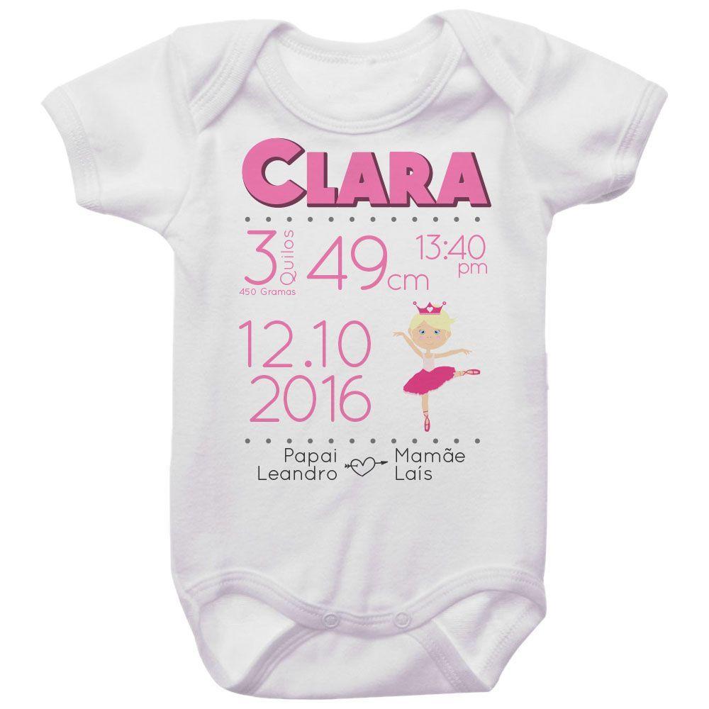 Body Bebê Dados de Nascimento Bailarina