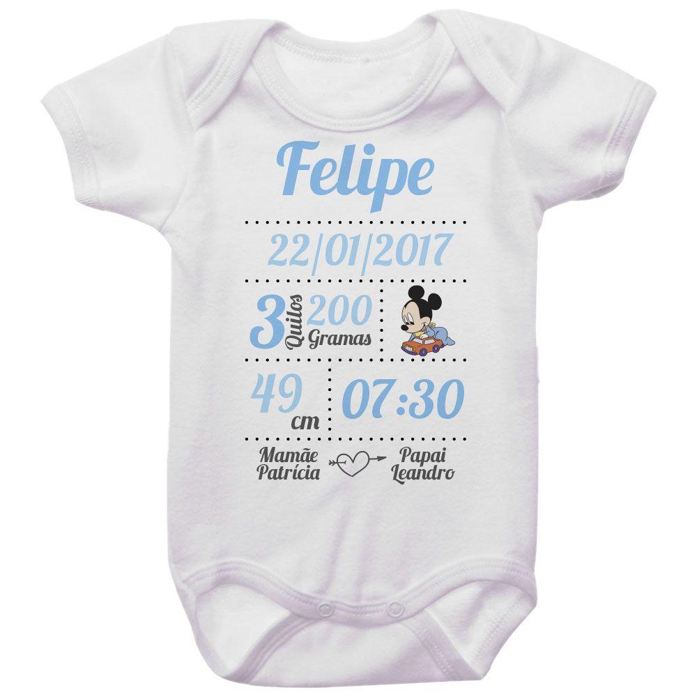 Body Bebê Dados de Nascimento Mickey