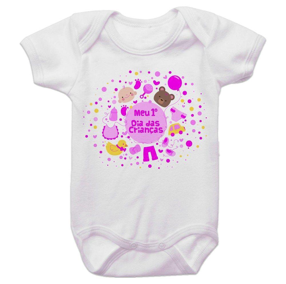 Body Bebê Meu Primeiro Dia Das Crianças Menina