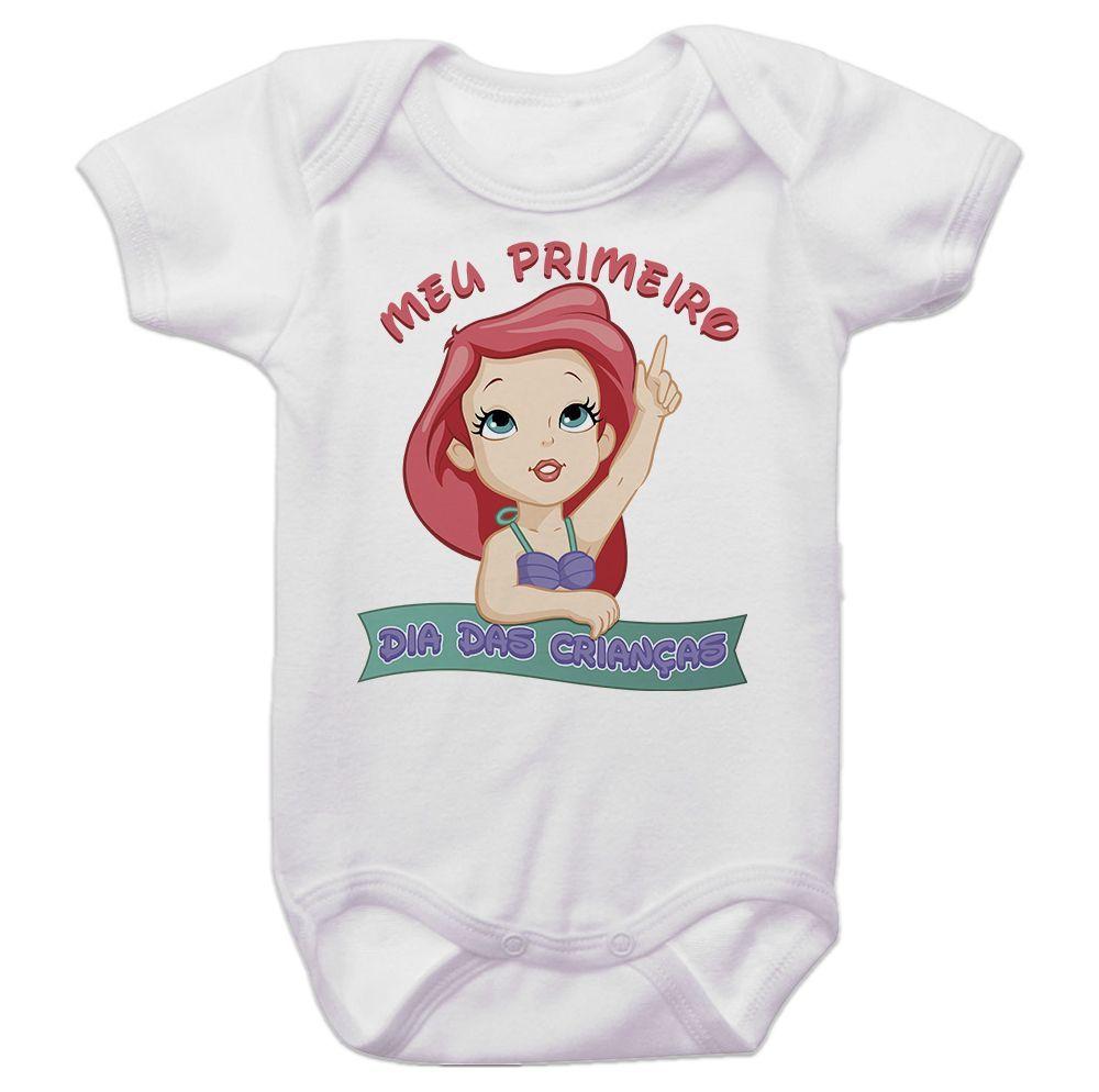 Body Bebê Meu Primeiro Dia Das Crianças Pequena Sereia