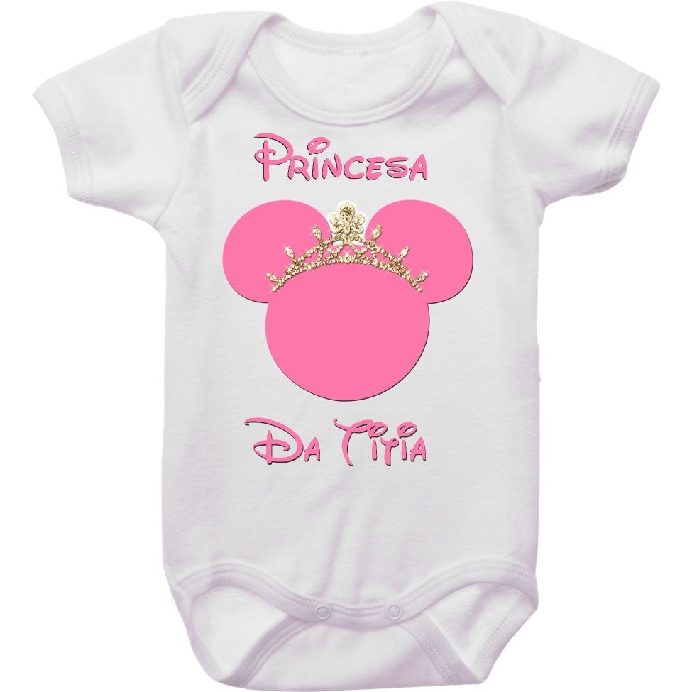 Body Bebê Minnie Rosa Princesa da Titia