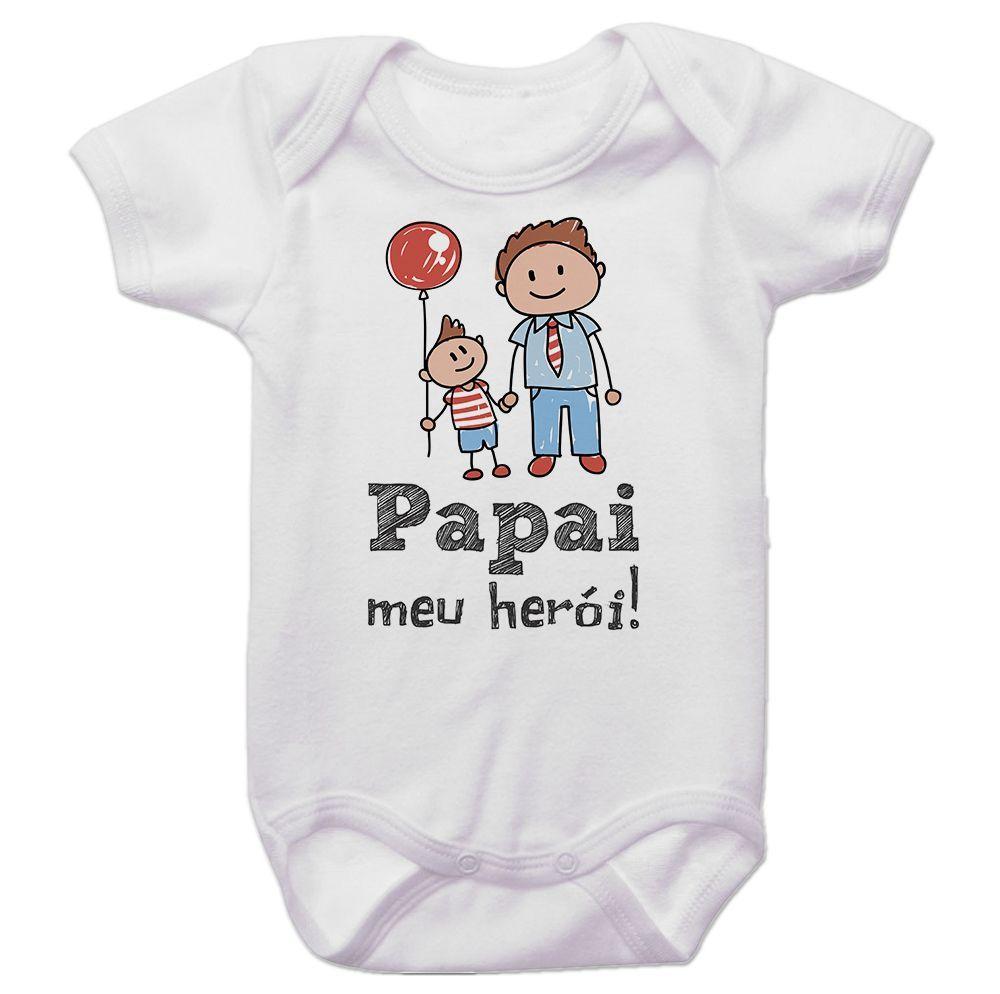 Body Bebê Papai Meu Herói Menino