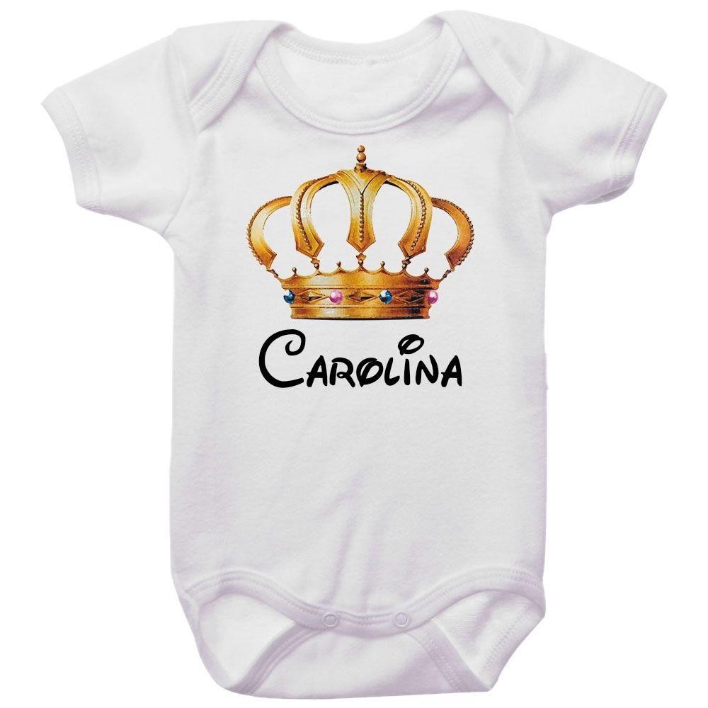 Body Bebê Personalizado Coroa Dourada