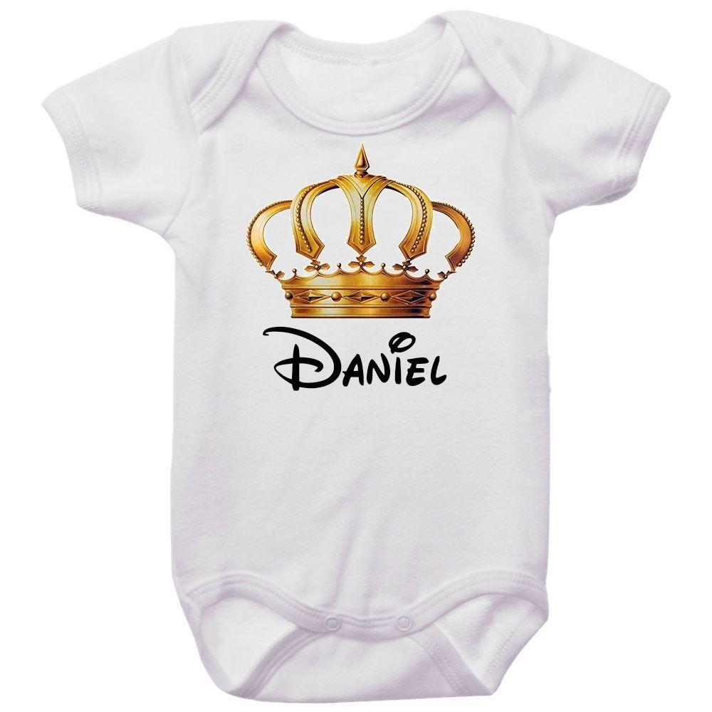 Body Bebê Personalizado Coroa Dourada Príncipe