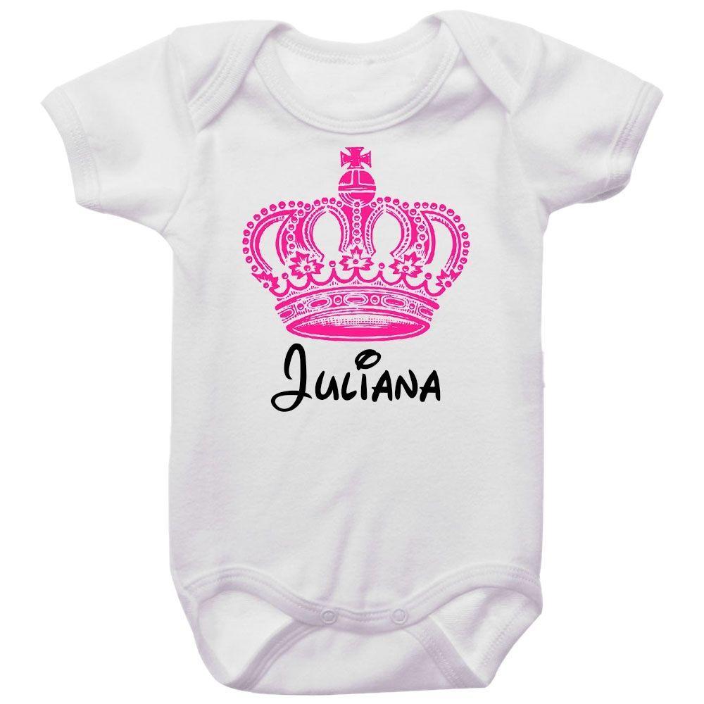 Body Bebê Personalizado Coroa Rosa