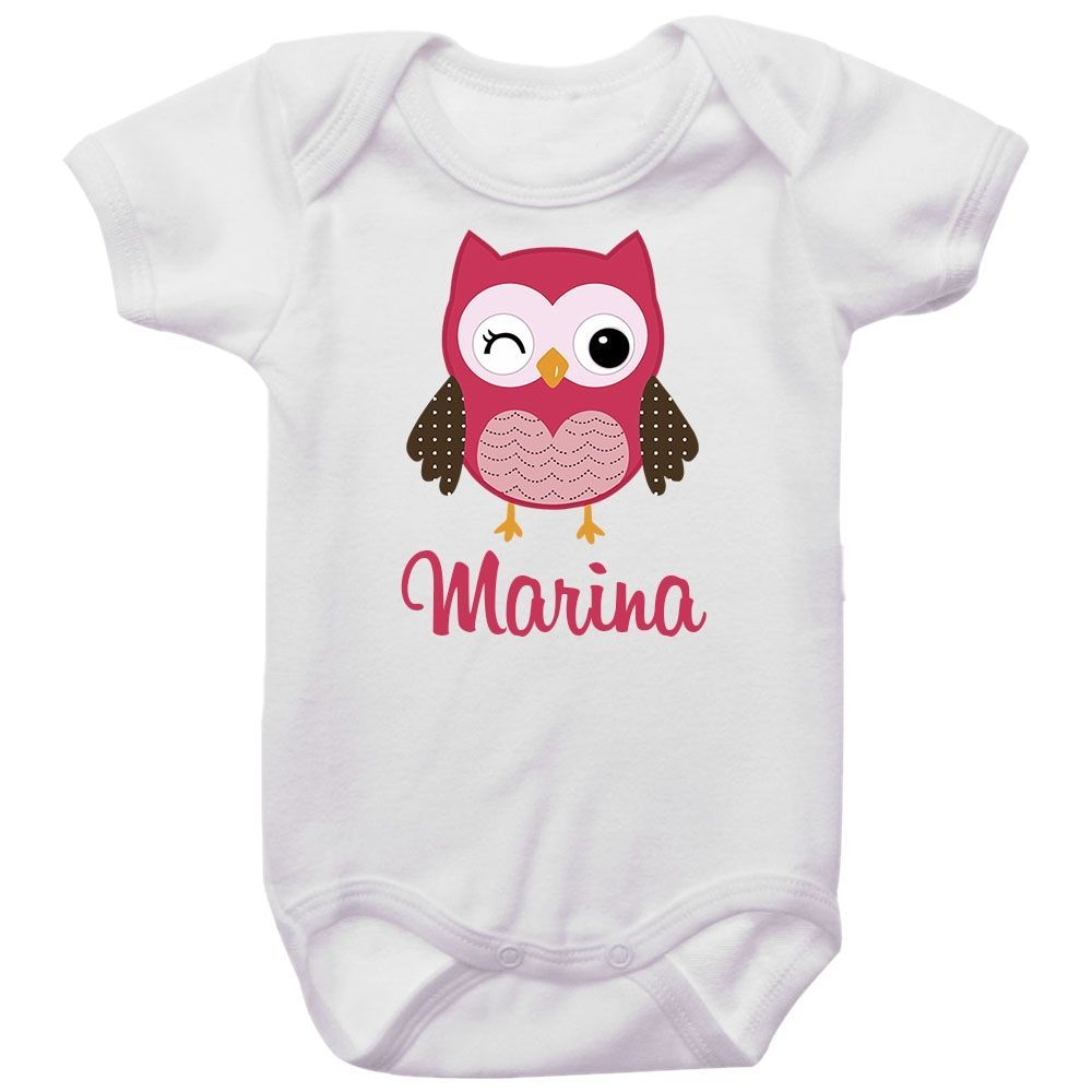 Body Bebê Personalizado Coruja