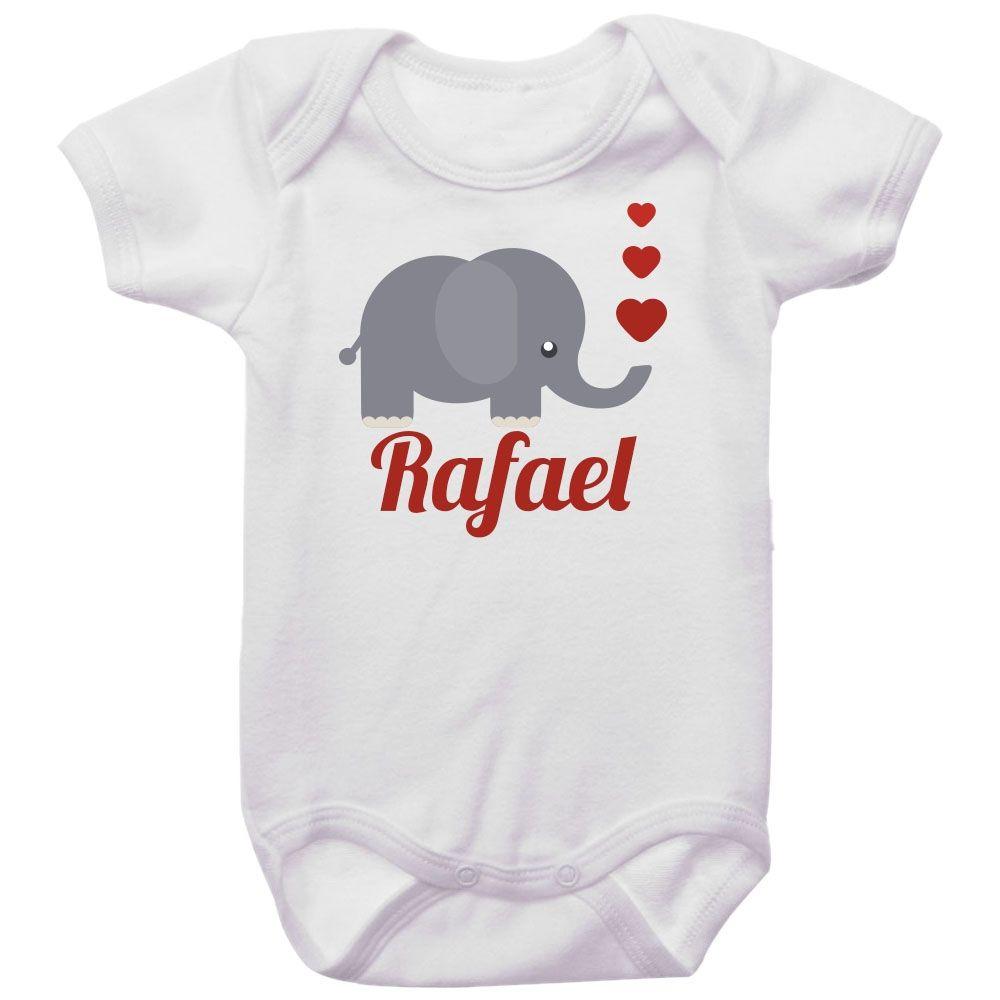Body Bebê Personalizado Elefante Corações