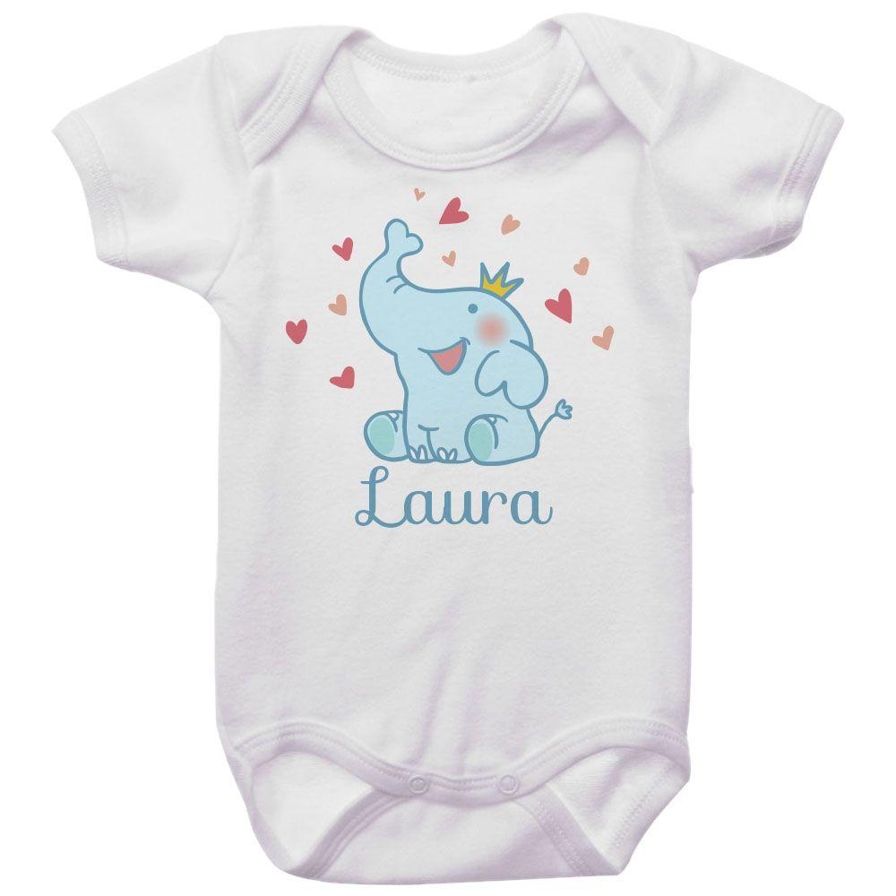 Body Bebê Personalizado Elefante Coroa Dourada