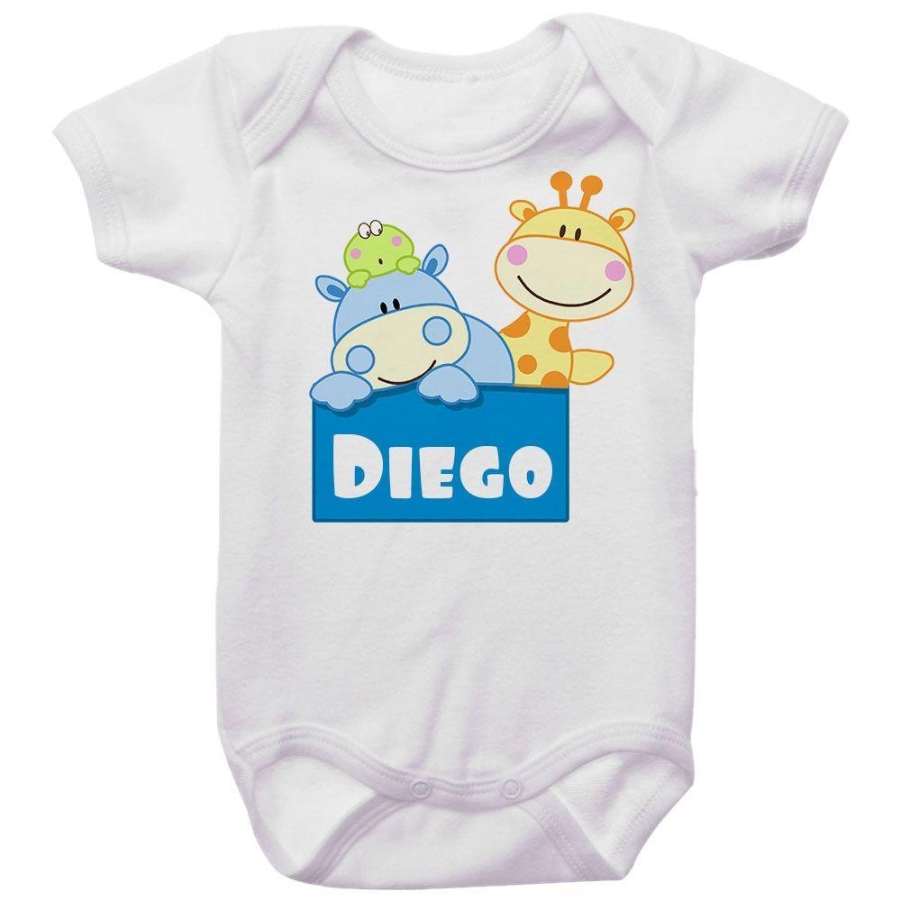Body Bebê Personalizado Hipopótamo e Girafa Menino