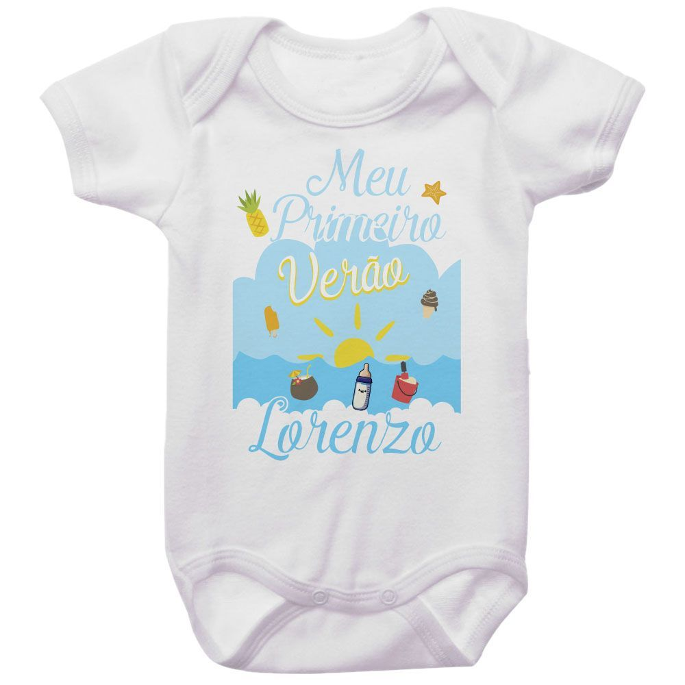 Body Bebê Personalizado Meu Primeiro Verão