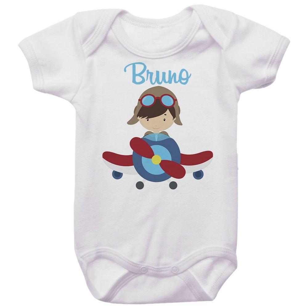 Body Bebê Personalizado Piloto de Avião