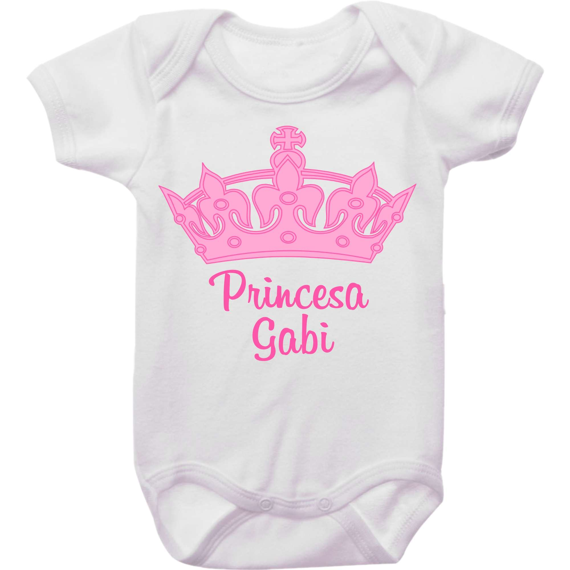 Body Bebê Personalizado Princesa Coroa Rosa