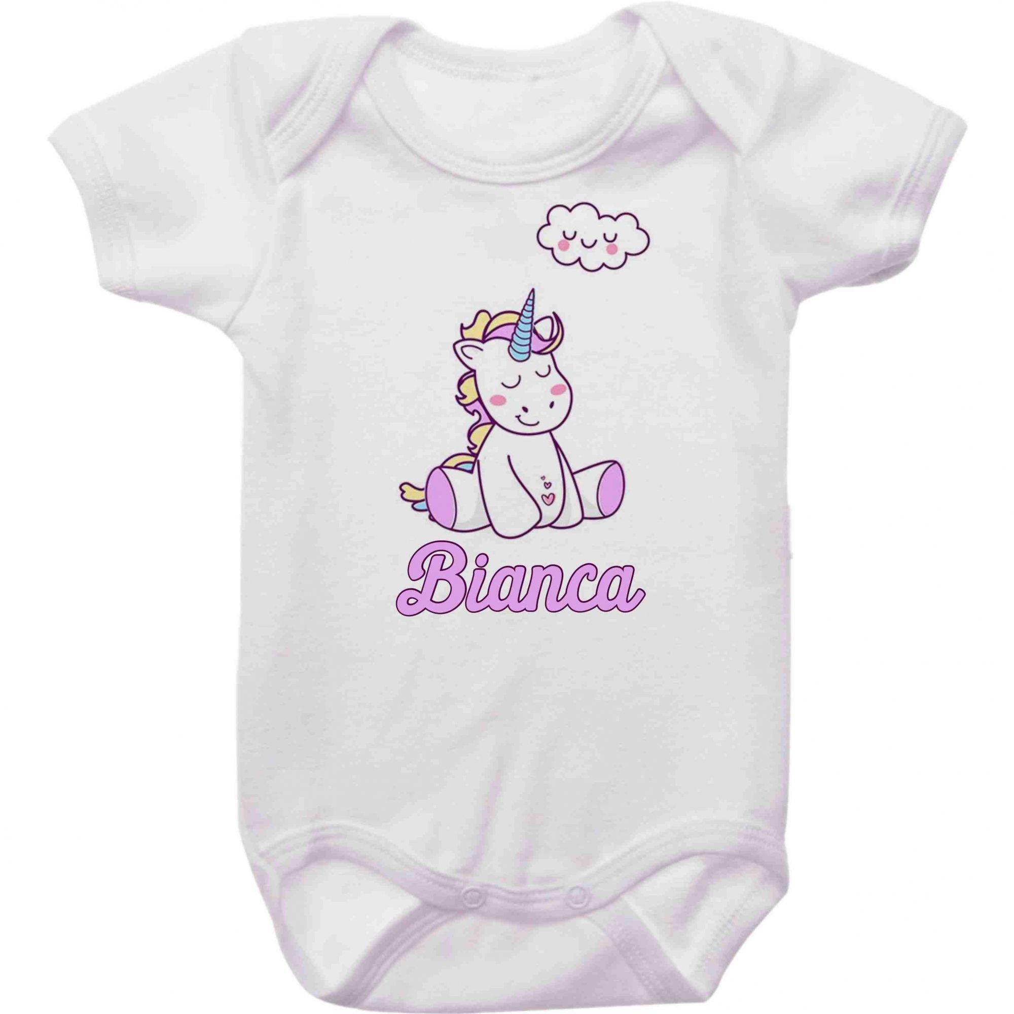 Body Bebê Personalizado Unicórnio Feliz