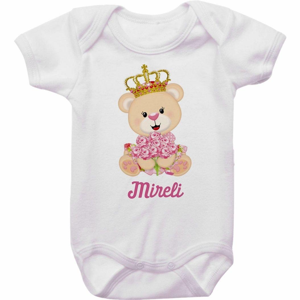 Body Bebê Personalizado Ursinha Flores