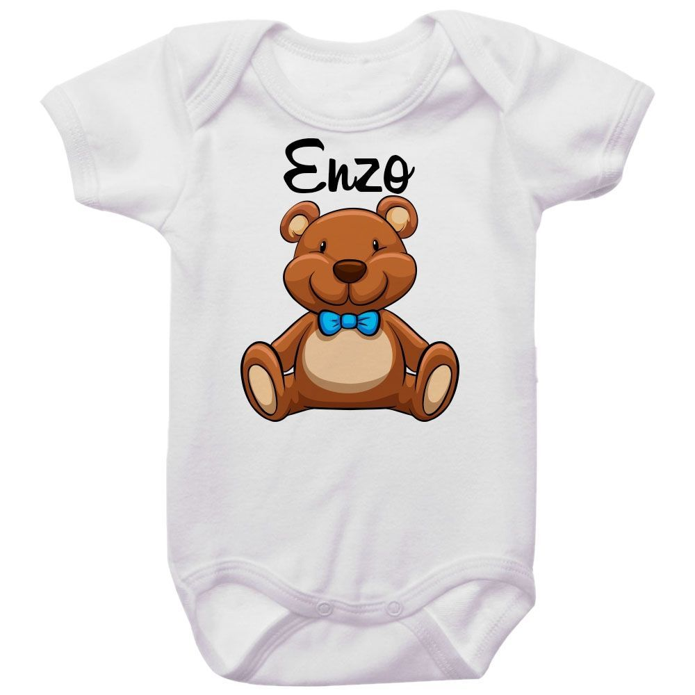 Body Bebê Personalizado Ursinho Gravata Borboleta Azul