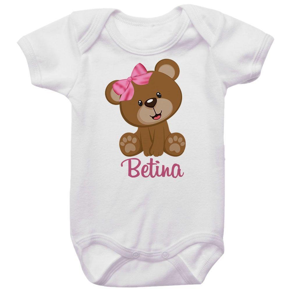 Body Bebê Personalizado Ursinho Laço Rosa