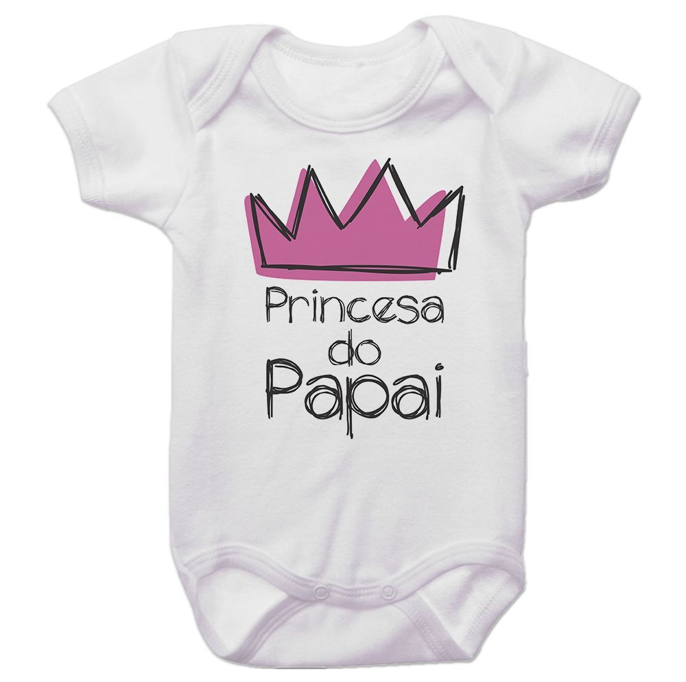 Body Bebê Princesa do Papai Coroa Rosa