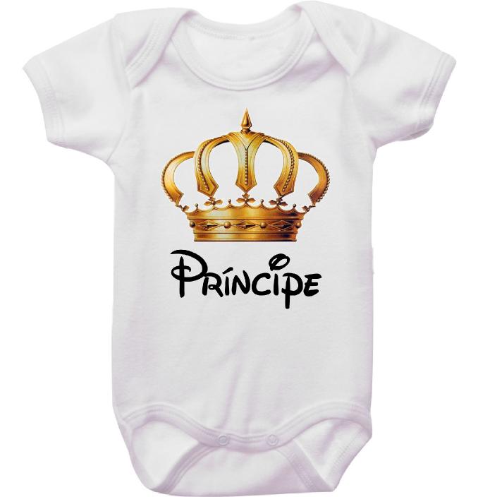 Body Bebê Príncipe Coroa Dourada
