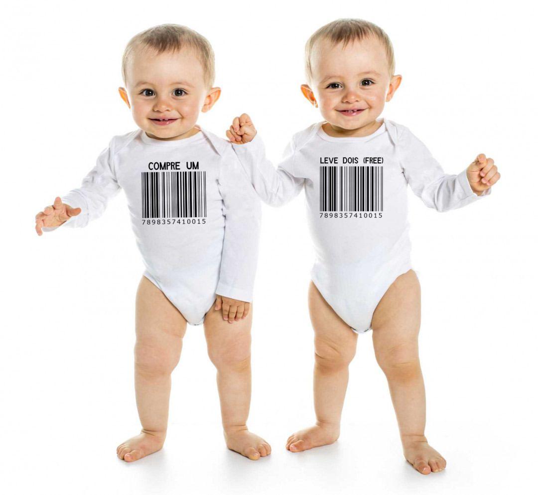 Body de Bebê Gêmeos Diverto Compre Um Leve Dois BO0215