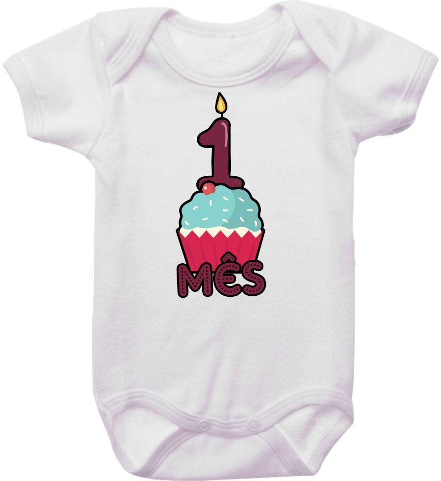 Body Mesversario Personalizado Avulso Bolo Cupcake MA0033